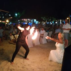 fire show wedding