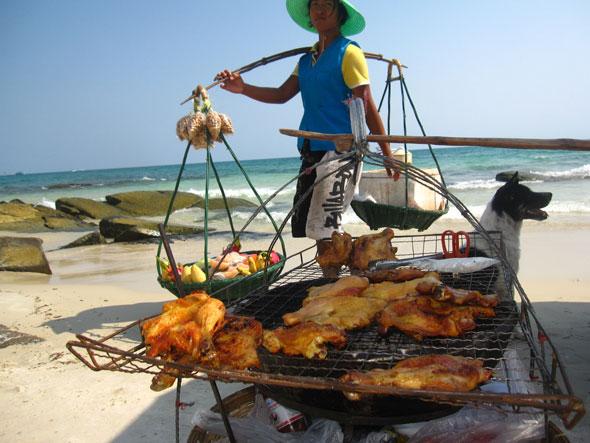 grilled chicken beach - Choeng Mon Beach